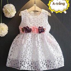[Hàng thiết kế] Đầm ren trắng cao cấp đính nơ eo