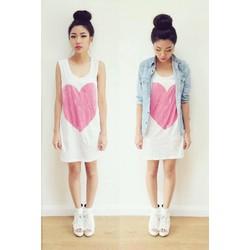 Đầm thun cotton hình trái tim