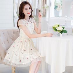 Đầm nữ ngắn tay, thiết kế cổ tròn thêu hoa, kiểu dáng nữ tính-D3004