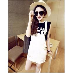 Váy yếm jean màu trắng VY02