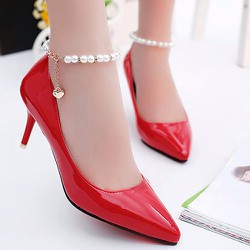 giày cao gót có vòng ngọc trai có 1 hạt rủ xuống tuyệt xinh-157