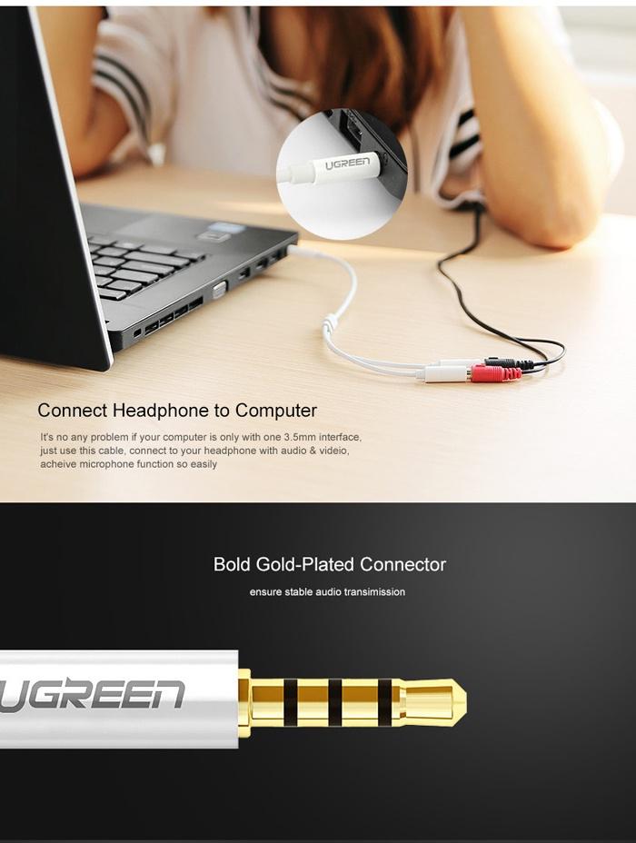 Cáp chia Mic và Loa chính hãng Ugreen UG-10789 cho Laptop đời cao 4
