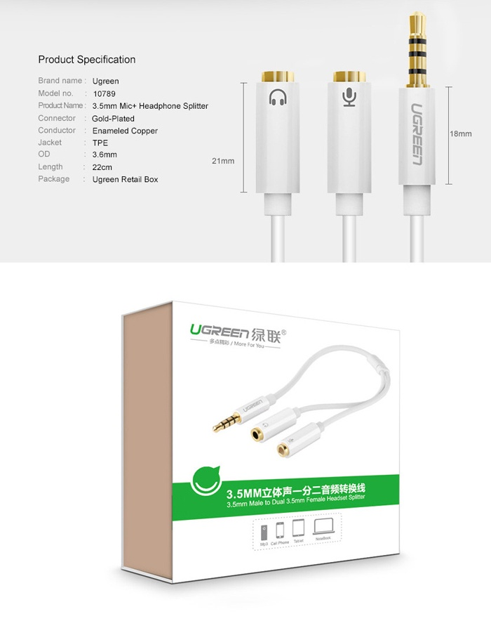 Cáp chia Mic và Loa chính hãng Ugreen UG-10789 cho Laptop đời cao 7