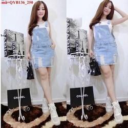 Váy yếm jean rách bụi bặm cực đáng iu QYB13
