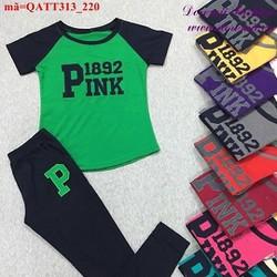 Bộ thể thao nữ Pink áo phối màu quần dài năng động bQATT313