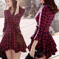 Đầm xòe caro đỏ đen phong cách bụi cá tính cho nàng thêm iu-147