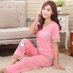 Đồ ngủ hồng marine xinh xắn TAY DÀI -133