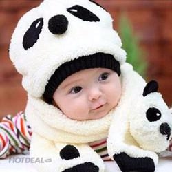 Nón + Khăn Choàng Len Hình Gấu Panda Cho Bé