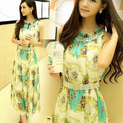 Đầm maxi thắt eo hạt chuổi phong cách đẹp màu xanh ngọc nhẹ nhàng-205