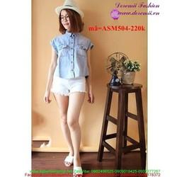Áo sơ mi jean nữ ngắn tay phối túi sành điệu ASM504