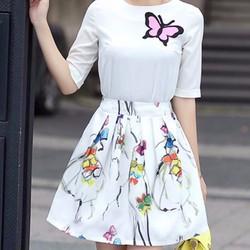 Set áo và chân váy họa tiết cô gái sắc màu trẻ trung cá tính -156