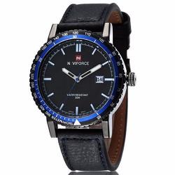 Đồng hồ dây da đen có mặt viền 3 màu cá tính - 149