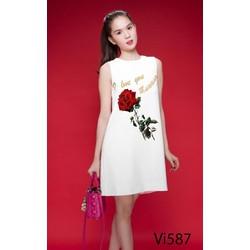 Đầm Suông Hoa Hồng Ngọc Trinh 2245