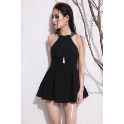 Jumpsuit đen giả váy thiết kế cổ yếm hở lưng tuyệt đẹp M3933