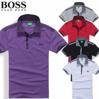 áo thun nam BOSS viền sọc trẻ trung bảnh bao sang trọng-502