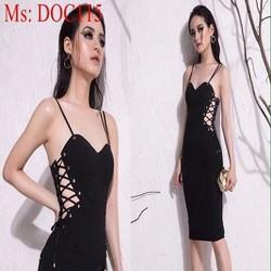 Đầm body 2 dây cúp ngực đan dây bên sành điệu cá tính DOC115