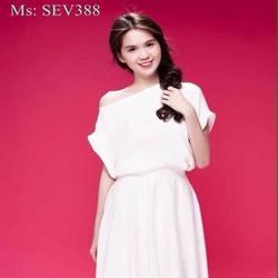 Sét áo kiểu lệch vai và chân váy xòe thời trang xinh đẹp SEV388