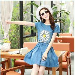 Set Bộ Váy Jean In 3D Hoa Sunny