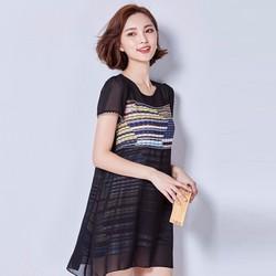 Hàng nhập: Đầm suông họa tiết ngang xinh đẹp DS517