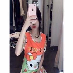 Đồ bộ mặc nhà ngắn tay hình mèo hello kitty đáng yêu DBTN465