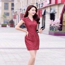Hàng chuẩn shop có size XXL - Đầm suông công sở sọc đỏ