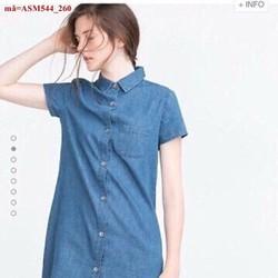 áo sơ mi jean nữ form dài ngắn tay sành điệu ASM544