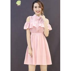 Đầm Cổ Trụ Bèo Ngực Xinh Xắn Thiết kế