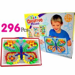 Bảng ghép hình bằng nhựa 296 hạt nấm ghép