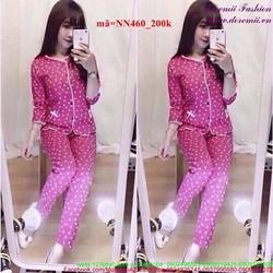Đồ bộ mặc nhà dài tay chấm bi dễ thương NN460