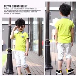Bộ bé trai áo cổ trụ quần kaki lưng thun cực yêu đi chơi đi học vnxk