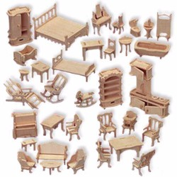 Bộ ghép hình 3D 184 miếng bằng gỗ nội thất thu nhỏ Woodcraft