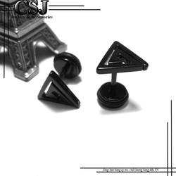 Bông tai inox hàn quốc sơn đen - BT240