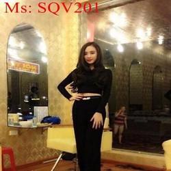 Sét áo croptop dài tay trơn màu và quần ống suông dài SQV201