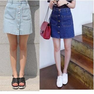 Váy jean 2 túi cài nút - Chân váy ngắn - C115 thumbnail