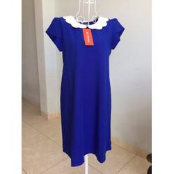 Đầm bầu công sở thiết kê - xanh coban