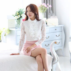 Hàng nhập cao cấp sơ mi nữ phối ren SM24