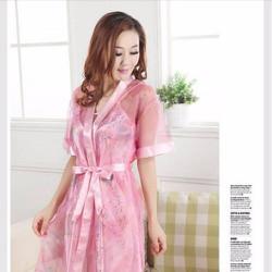 Đầm ngủ kèm áo khoác chất liệu satin, lưới cao cấp