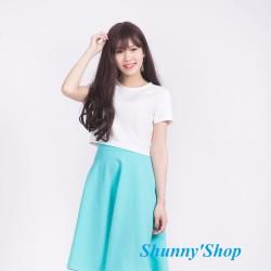 Chân váy xòe xanh ngọc