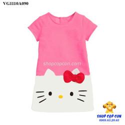 Đầm phối màu mèo kitty màu hồng size 9-13