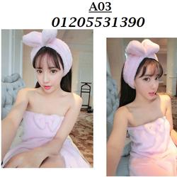 Áo Choàng Tắm Kèm Băng Đô Nơ A03