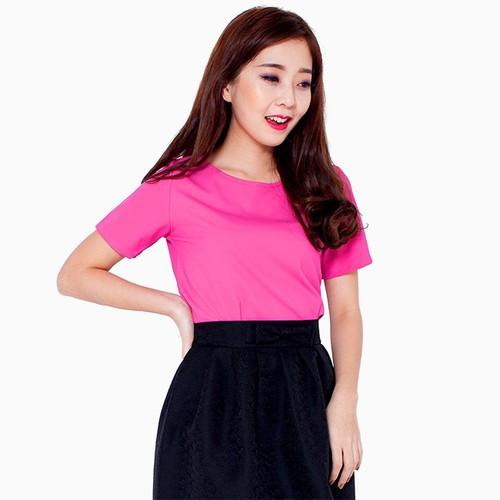 Áo cổ tròn tay lửng màu hồng - A05116060