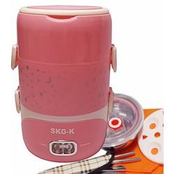 Hộp cơm hâm nóng inox cao cấp 3 ngăn SKG-K màu hồng