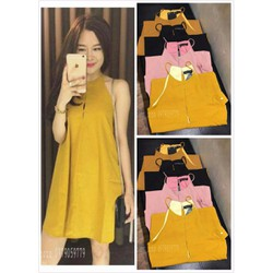 Đầm suông xẻ 3 màu vàng - hồng - đen - A25995