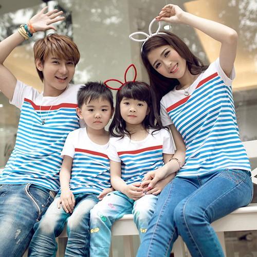 Áo gia đình kẻ sọc xanh