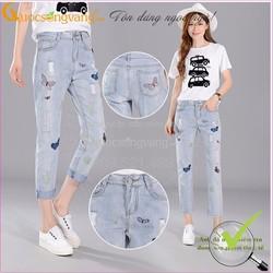 Hàng nhập - Quần Baggy Jeans rách chất đẹp thêu hoa bướm GLQ012