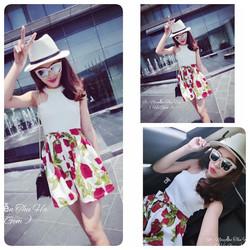 Sét áo croptop cổ trụ và chân váy xòe hoa xinh đẹp SEV332