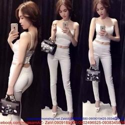 Sét áo croptop hai dây và quần ống ôm sexy sành điệu cho bạn gái SQ26