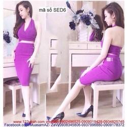 Sét áo kiểu xẻ ngực hở lưng sexy và chân váy bút chì SEV152
