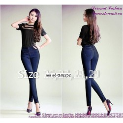 Quần jean hotgirl lưng cao 1 nút form chuẩn đẹp QJE252