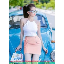 Sét áo croptop yếm sexy và chân váy short đính nút SEV163